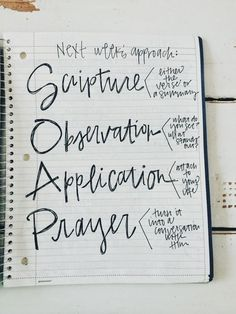 Prayer Bible Journal. love this SOAP method and I have been using it to create devotionals for a workout group I am helping with! Its perfect if you are not sure where to start.