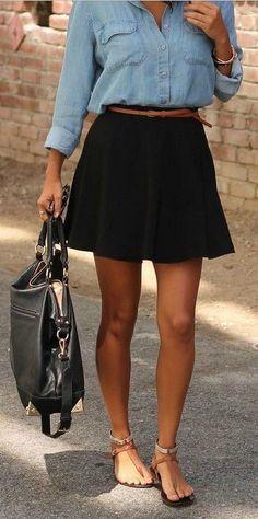 Skater Skirt + Chambray Shirt #DressyCasual LOVE