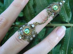armor ring double chained peridot elfin elf nail ring claw ring nail tip ring knuckle ring steampunk goth victorian goddess pagan boho gypsy