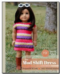 Mod Shift Dress Sewing Pattern for American Girl Dolls
