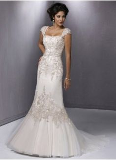 Gorgeous Trumpet Square Tulle and Lace Wedding Dress