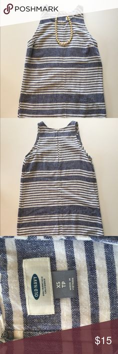 Old Navy Stripped Dress A very cute shift dress! It would look adorable with strappy sandals and a beautiful statement necklace!  Sleeveless dress has a round neckline, a key hole back with button closure & dolphin hem. 45% Rayon, 55% Linen. Machine Wash.  NEVER WORN. Old Navy Dresses Mini