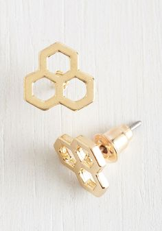 Honeycomb by it Naturally Earrings. With these golden earrings and your most genuine smile, your look is as lovely as can be! #gold #modcloth