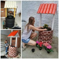 Recycled tires Wishing Well