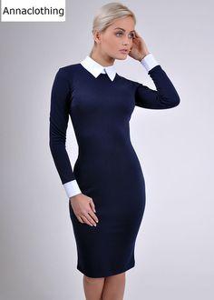Dark blue dress Spring dress Strict dress business woman Peter Pan collar Autumn dress Contrast dress Casual dress office dress Pencil dress