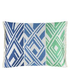 Valbonella Cobalt Cushion - A striking geometric patterned cushion jacquard woven in a luxurious silk blend. In vivid tones of cobalt and emerald, this sophisticated large rectangular cushion is finished with a sleek plain reverse
