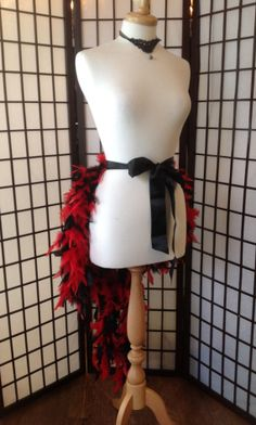 Burlesque Red And Black Feather Bustle Skirt One Size