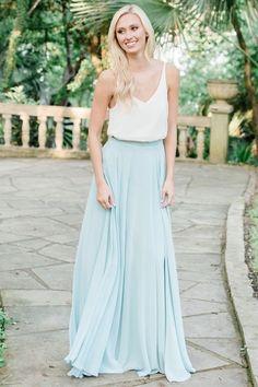 63b9d3d1b9 Lola Chiffon Bridesmaid Skirt in Powder Sky. Heidi Chiffon Top. Bridesmaid  Separates, Chiffon