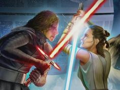 """This is my 2000th pin on star wars/reylo board. Wow, credits to all the artist, cosplayers, game canon and others. This pic is part of the EA game: """"Galaxy of Heroes"""" Rey vs Kylo Ren"""