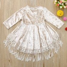 d01ee404036 Flower girl infant toddler twin baby girls solid tassel velvet dresses
