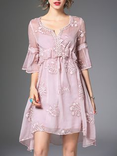 Shop Midi Dresses - Pink Embroidered Sweet Two Piece Midi Dress online. Discover unique designers fashion at StyleWe.com.