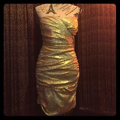 Green&Gold Tube Styletease Me Sz 7 Dress