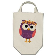 Owl with Flowers in Her Hair Canvas Bag