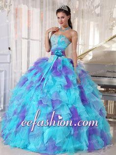 2014 Aqua and Purple Organza Appliques Decorate Modern Quinceanera Dress