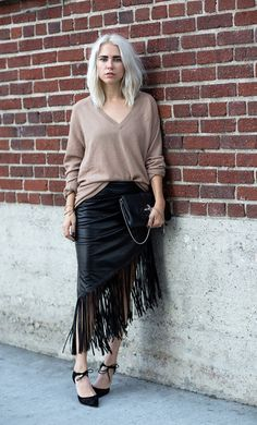 cb0735b0ff2 This Shoe Trend Will Make You Ditch Your Classic Black Heels via fringed  leather skirt