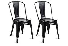 Black Liv Metal Chairs, Pair on OneKingsLane.com ($129) for 2