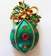 Vintage 1950's Large Enameled/Rhinestone Bulb Ornament Christmas Pin Brooch
