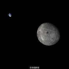 A Terra e o lado escuro da Lua. Foto tirada pela sonda chinesa Chang'e 5T1.