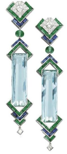 Aquamarine, Emerald, and Diamond Earrings,    Christie's