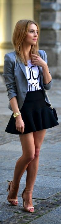 Chic Grey Blazer with Print Tee Shirt and Black Ru...