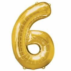 Gold large number 6 balloon http://www.wfdenny.co.uk/p/large-gold-6-balloon/2052/