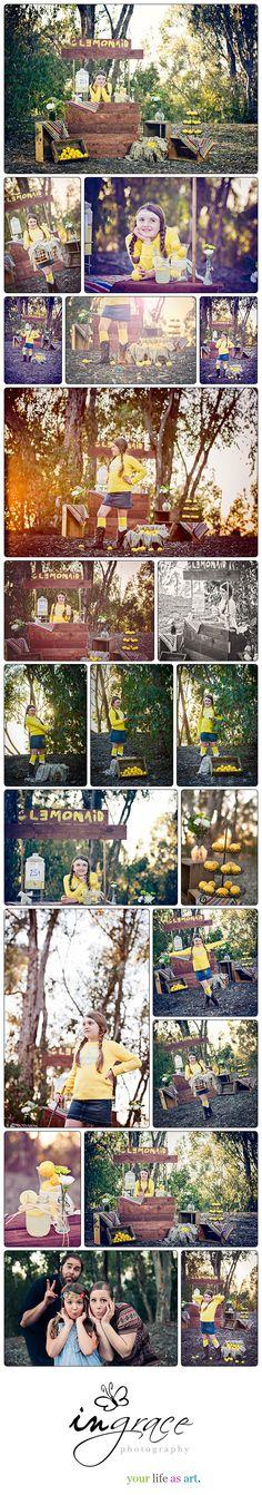 Lemonade stand themed photo shoot