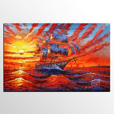 Oil Painting Abstract Art Sunrise Painting by TexturePainting