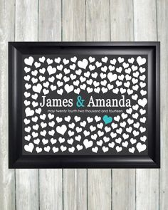 Wedding Guest Book Alternative Art Print, Custom Wedding Guestbook Poster, Signature Heart Wedding Guestbook, 150 Guests, Bridal Shower Gift...