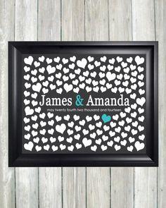Wedding Guest Book Alternative Art Print, Custom Wedding Guestbook Poster, Signature Heart Wedding Guestbook, 150 Guests, Bridal Shower Gift...