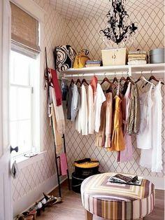 Papel de parede decorando o #closet