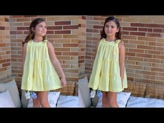 SEWING TUTORIAL: How to sew a summer dress made with yellow swiss dot fabric. You will find this sewing pattern and much more at: . Sewing Projects For Kids, Sewing For Kids, Carmen Diaz, Sewing Tutorials, Sewing Patterns, Entertainment Center Redo, Sewing Kids Clothes, Swiss Dot, Couture