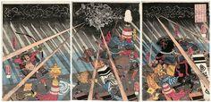 歌川国芳: Jô Shirô Nagamochi of Echigo Privince, About to Go to War for the Taira, Sees an Apparition in the Sky (Echigo no kuni no jûnin Jô Shirô Nagamochi Heike no saisoku ni shitagai shutsujin nasu ori kara kûchû ni kaii o miru zu) - ボストン美術館