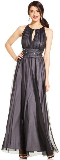 Jessica Howard Keyhole Bead-Trim Pleated Gown