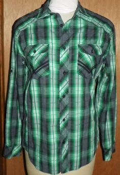 Helix Mens M Button Front Shirt Military Style Long Sleeves Green Plaid NWOT #Helix #ButtonFront