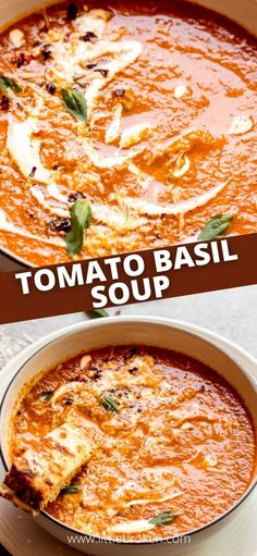 The best-rated roasted tomato basil soup. This recipe relies on fresh tomatoes and herbs rather than cream or milk. It's rich and full of flavor. Veggie Soup Recipes, Meatless Recipes, Lunch Recipes, Breakfast Recipes, Roasted Tomato Basil Soup, Roasted Tomatoes, Pinterest Recipes, Yummy Appetizers, Comfort Foods
