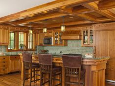 A coffered ceiling defines the kitchen area, which is generously proportioned and mostly open to the living rooms. Builder Todd Wright designed the island. Craftsman Decor, Craftsman Interior, Craftsman Kitchen, Craftsman House Plans, Modern House Plans, Small House Plans, Craftsman Style, Arts And Crafts House, Home Crafts