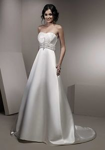 NEW!!! Plus size Strapless Aline wedding dress Beaded sash Bridal gown #dq5032