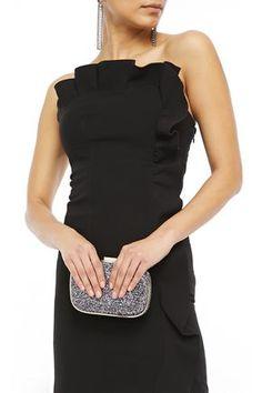 Anya Hindmarch Marano Glittered Woven Box Clutch In Anthracite World Of Fashion, New Fashion, Luxury Fashion, Anya Hindmarch Fashion, Luxury Branding, Peplum Dress, Glitter, Hand Bags, Sweaters