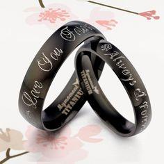 UK Handmade Your words Black Matching Wedding Engagement Titanium Rings Set Flat Court. £99.98, via Etsy.
