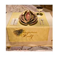 Virginia Woolf's place setting at 'The Dinner Party' by Judy Chicago #art #artist #installation
