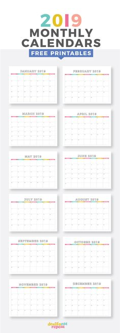 Free 2019 Monthly Ca