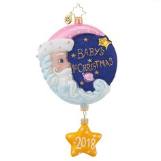 2016 BABY/'S 1ST CHRISTMAS GIRL ORNAMENT~BLOWN GLASS RATTLE~PINK~NWT