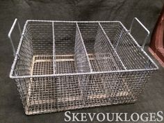 "Large Vintage Wire Basket (Galvanized) -- measures 18 3/4""   wide, 14 3/4"" long and 9"" deep  Available at Skevoukloges Ebay Store, IronAgeCollectibles   Etsy Shop"