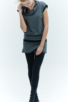 Gray Yoga Tunic Top/ Arya Capped Sleeves Top/ Gray by AryaSense