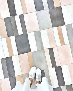 One InStyle editor discovers a fabulous Moroccan tile resource in the midst of renovating her N. Floor Design, Tile Design, House Tiles, Woman Bedroom, Floor Patterns, Square Tile Patterns, Floor Finishes, Grey Bathrooms, Decoration