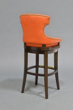 ORANGE LEATHER RHODES 30  BARSTOOL DARK ESPRESSO 7307-__ Plantation hardwood frame. & Isaac Swivel Bar u0026 Counter Stool | Kick plate Bar stool and Mid ... islam-shia.org