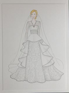 Custom bride portrait, bride with veil original drawing, paper anniversary, wedding anniversary gift, bride in wedding gown sketch - - Source by roshnikatela Dress Design Drawing, Dress Design Sketches, Fashion Design Sketchbook, Fashion Design Drawings, Dress Drawing, Fashion Sketches, Sketch Drawing, Fashion Drawing Dresses, Fashion Illustration Dresses