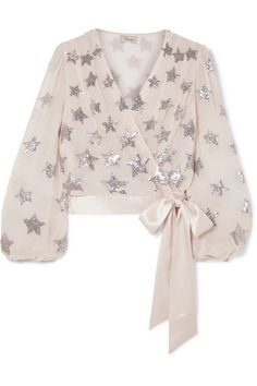 Shop on-sale Starlet satin-trimmed sequined georgette wrap blouse. Browse other discount designer Long Sleeved Top & more luxury fashion pieces at THE OUTNET Long Tops, Long Sleeve Tops, London Outfit, Looks Chic, Wrap Blouse, Jacket Dress, Silk Satin, Blouse Designs, Dress Designs