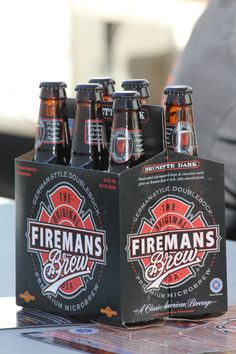 Fireman's Brew Brunette Craft Beer~Haha I need to get this for my husband Firefighter Family, Firefighter Paramedic, Volunteer Firefighter, Fire Dept, Fire Department, Small Cottage Kitchen, Country Kitchen, Bead Board Walls, Chocolate Malt