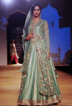 India Bridal Fashion Week 2013 – Ashima Leena sea green long jacket lehenga